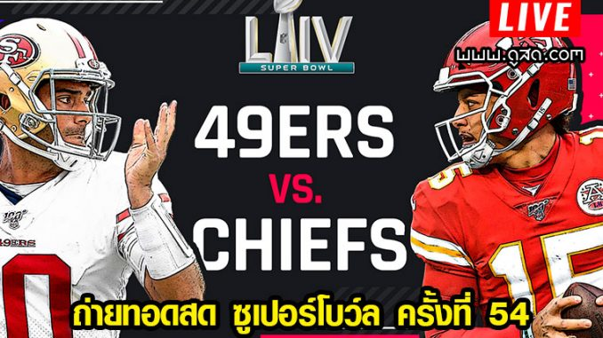 Super Bowl 2020 นัดชิงชนะเลิศ the San Francisco 49ers and Kansas City Chiefs